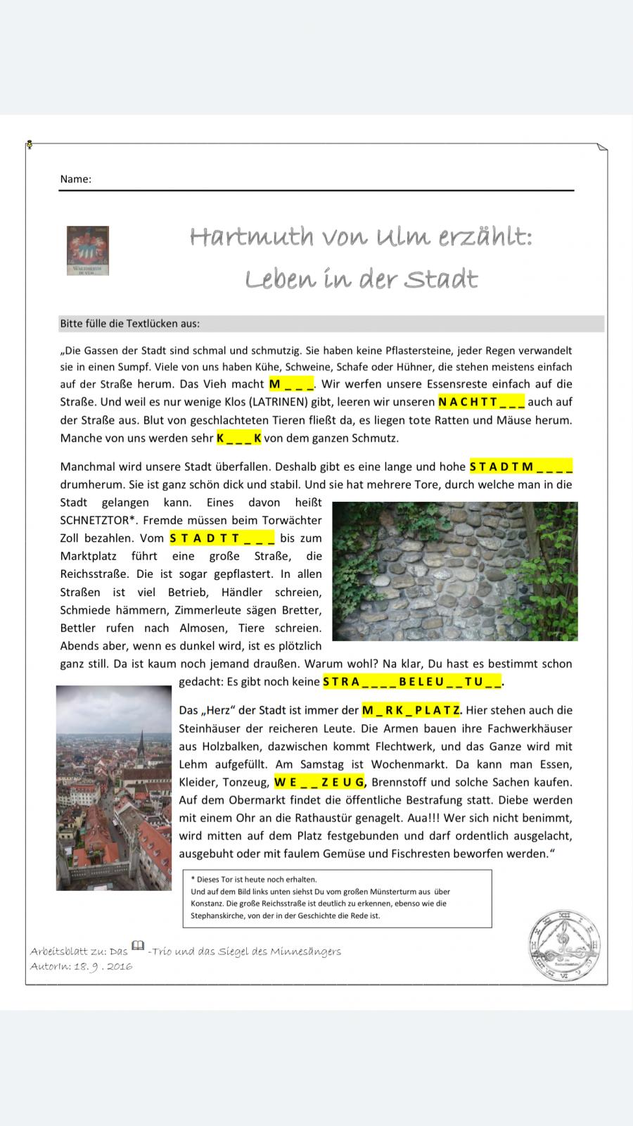 1 Hartmuth von Ulm erzählt Leben in der Stadt